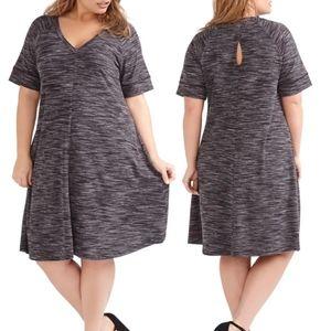 💜 LOVE & LEGEND A-Line Knit Tshirt Dress Keyhole